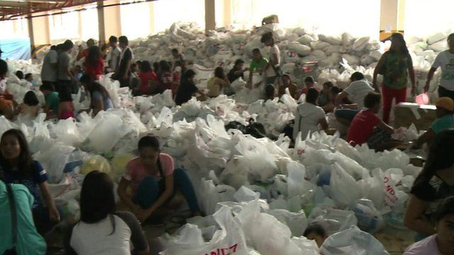 Bags inside food aid centre