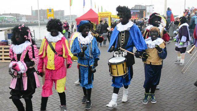 People dressed as 'Black Pete'