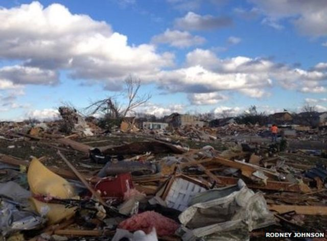Scenes of the aftermath of a tornado in Washington, Illinois