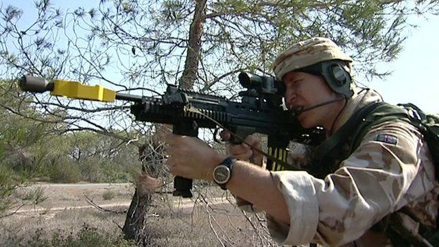 Infantry reservist in training