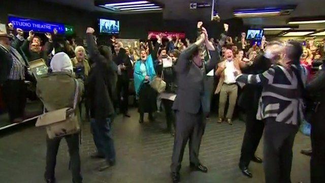 People celebrating in Hull