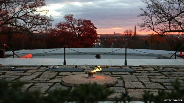 Eternal flame at JFK's gravesite
