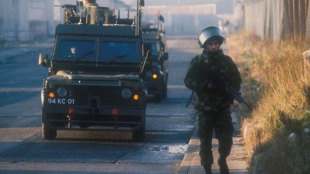 British army soldiers patrol the streets of Belfast in Northern Ireland