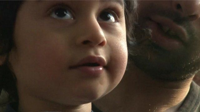 Two-year-old Gaurav Bains with his father, Sunny