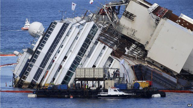 Costa Concordia lies on its side