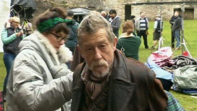 John Hurt on set for filming of the 50th anniversary episode of Doctor Who