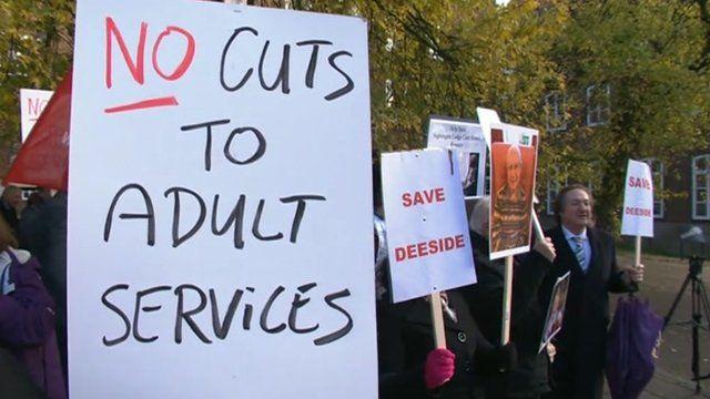 Protests at council meeting
