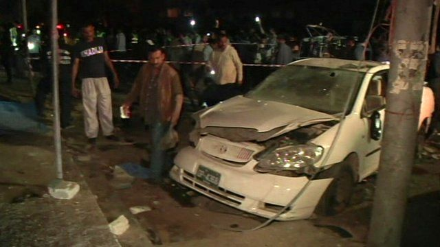 Car damaged by bomb explosion