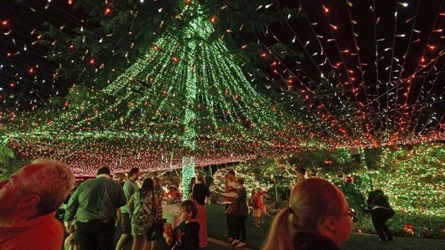 People look at the Richards' home illuminated with miniature lights in Canberra, Australia, 24 November 2013