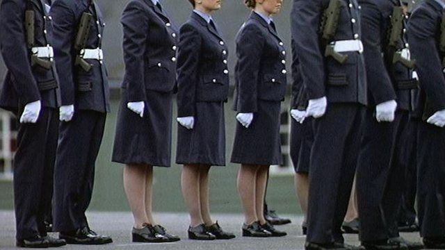 Female RAF recruits march alongside men