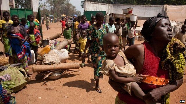 Internally displaced people at camp in Bossangoa