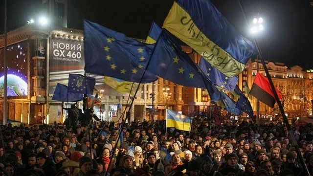 Supporters of the Ukraine EU deal in Kiev