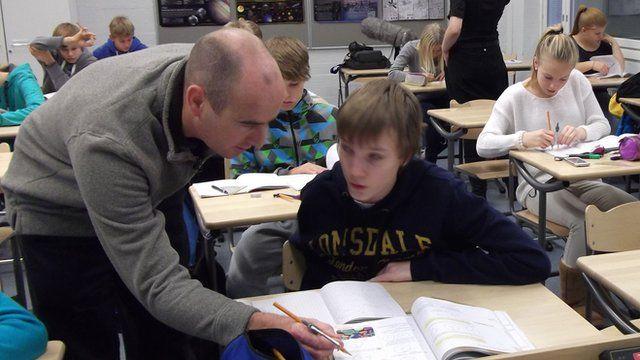 Bangor maths teacher Chris Parry visits a school in Vantaa, Finland