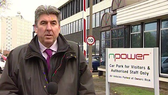Ian Reeve, North East Business Reporter outside Npower offices