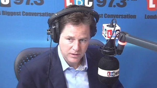 Nick Clegg speaking on his LBC radio phone-in