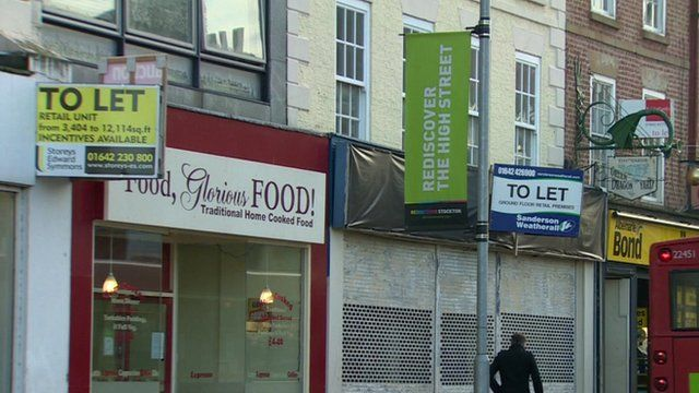 """""""To let"""" signs along shopping street in Stockton-on-Tees"""