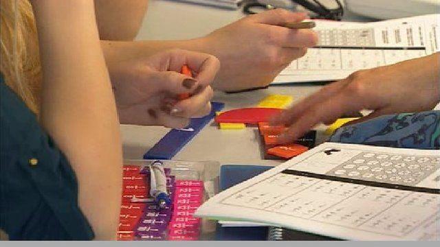 Student solving a maths problem