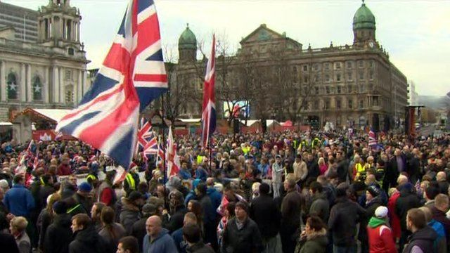 Hundreds of protesters took part in the march in Belfast city centre