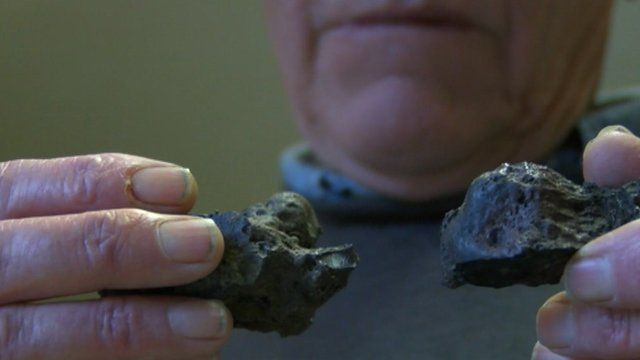 Lawrence Parkin with his suspected meteorite