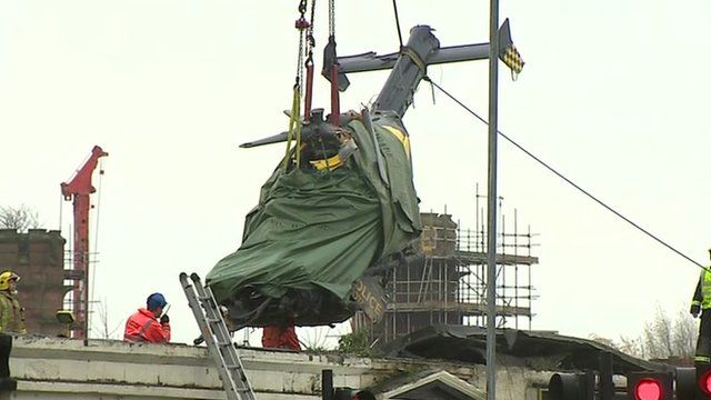 Helicopter being removed