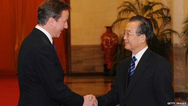 Prime Minister David Cameron and former Chinese Premier Wen Jiabao