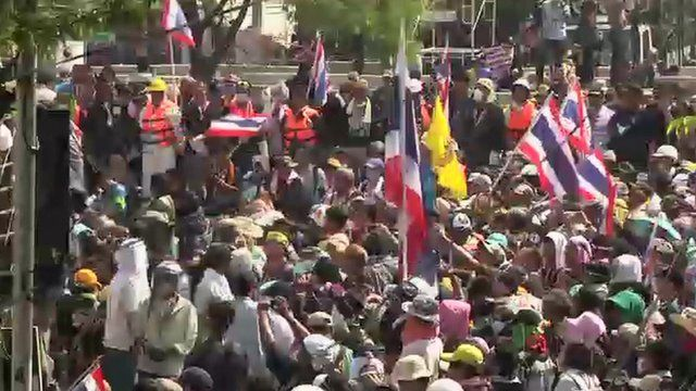 Protesters at the police HQ