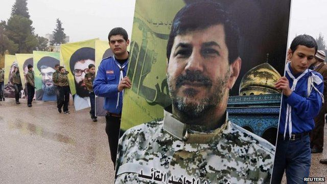 Hezbollah youth hold poster of killed commander Hassan Lakkis, Baalbek (4 Dec)
