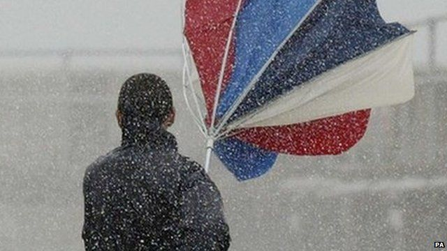 Umbrella blown inside out