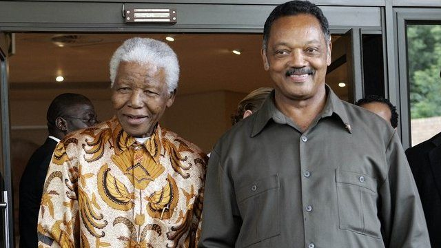 Nelson Mandela and the Reverend Jesse Jackson