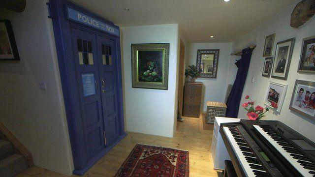 The Tardis doors concealing the Richards's downstairs bathroom