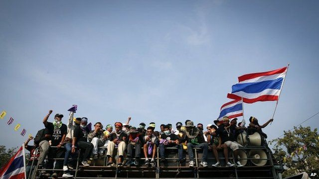 Anti-government protesters in Bangkok on 8 December 2013