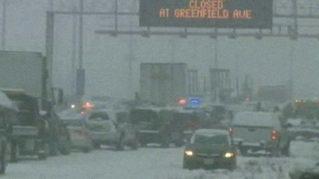 Cars on blocked motorway