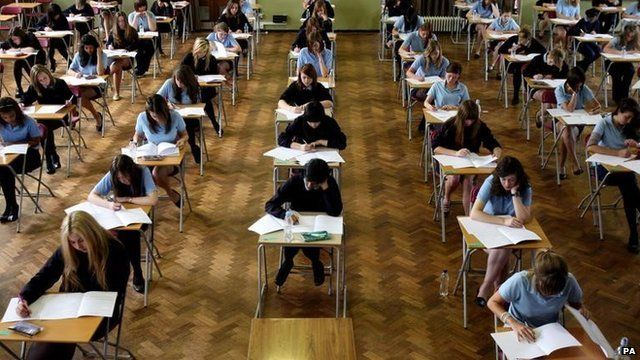 GCSE students taking an exam