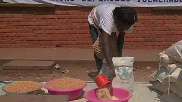 Woman measures out food into bowl