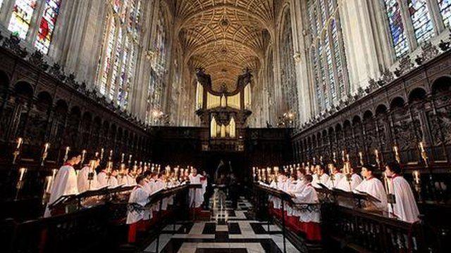 Choir sing in King's College, Cambridge