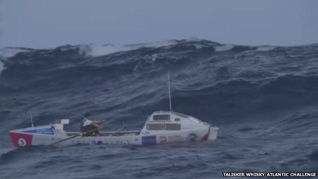 Talisker Whisky Atlantic Challenge rowing boat in rough sea