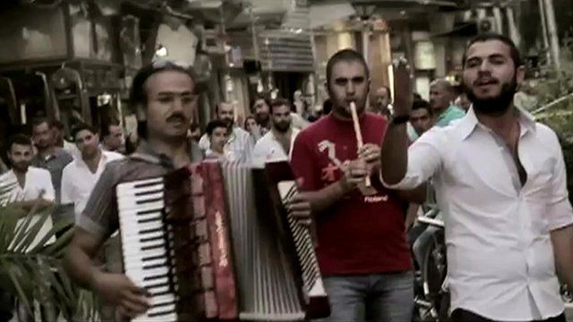 The band Wamda performing on the streets of Damascus