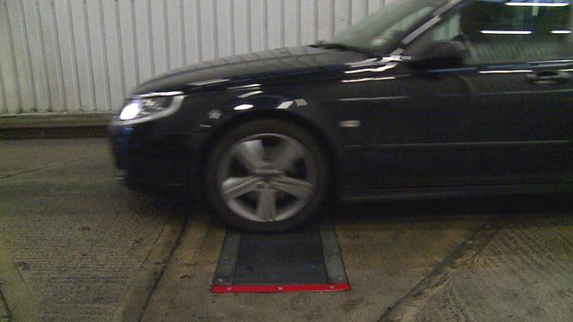 Sensors embedded in the road are used to calculate tyre pressure