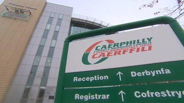 Caerphilly council sign
