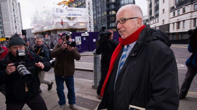 Denis MacShane MP outside the Old Bailey