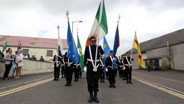 Members of a Republican band take part in a parade commemorating dead IRA members in the village of Castlederg, in County Tyrone August 11, 2013.
