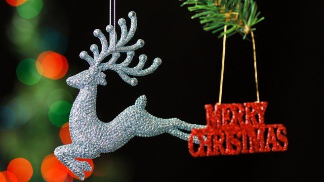 reindeer and sign hanging off a tree