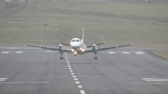 The FlyBe plane from Sumburgh to Edinburgh taking off at an angle