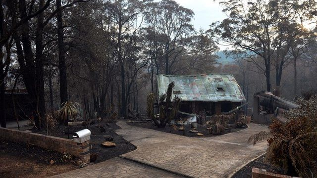 Charred house in Winmalee