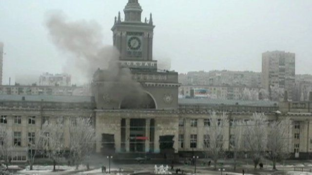 Smoke rises after train station blast