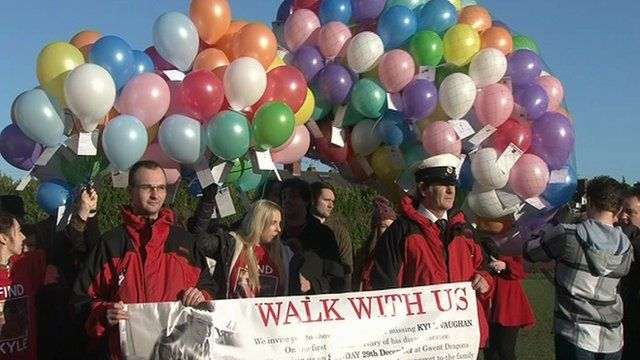 Balloons being released for Kyle Vaughan