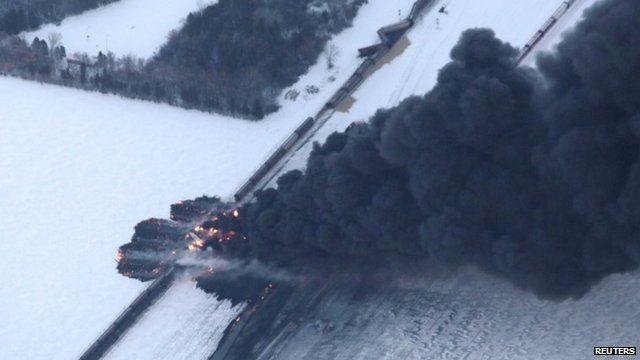 Black smoke rising from train