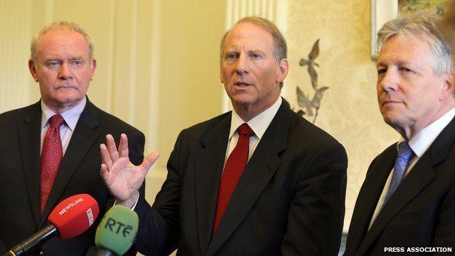 Deputy First Minister Martin McGuinness, Richard Haass and First Minister Peter Robinson