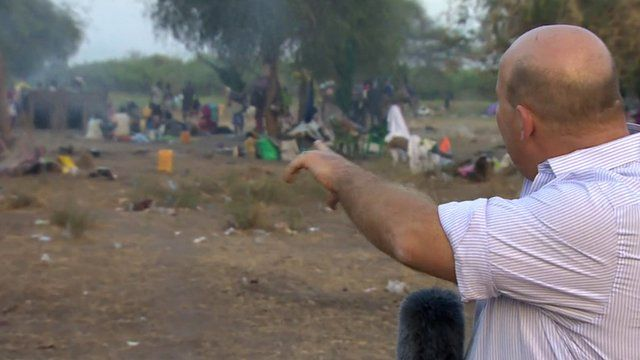 Alastair Leithhead at the Awerial refugee camp.