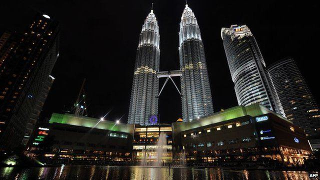 Night view of Petronas Towers in Malaysia